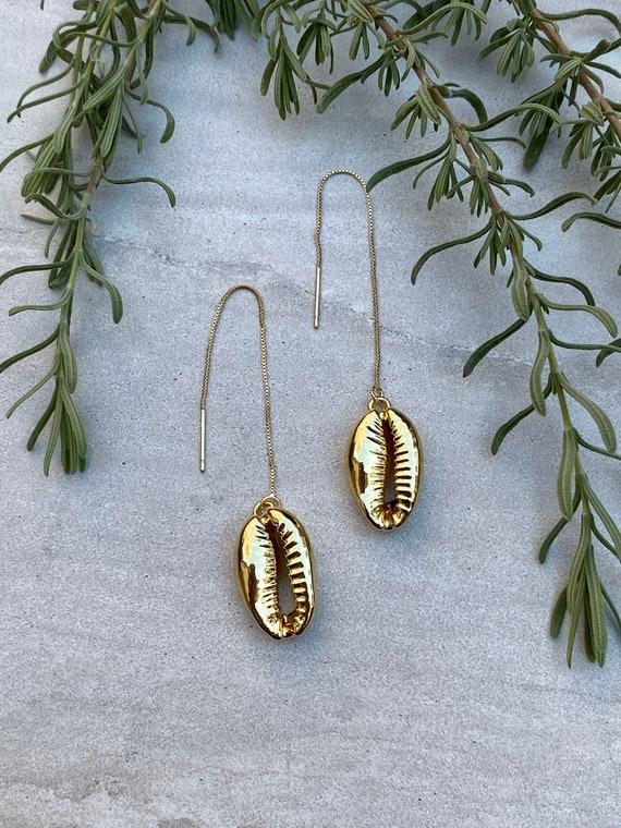 Cowrie Shell Threader Boho Earrings