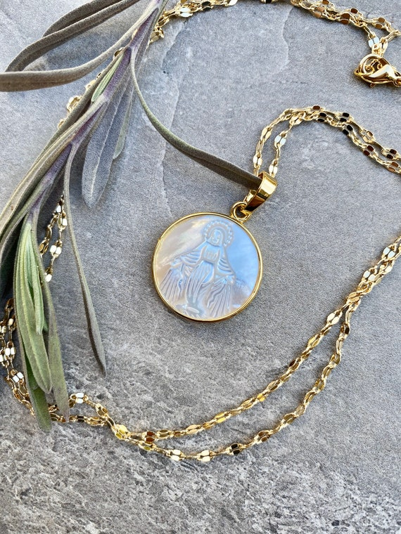 Mother Mary Caved Shell Mother of Pearl 14K Gold Boho Necklace