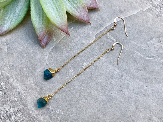 Raw Neon Blue Apatite Crystal Drop 14K Gold Filled Earrings