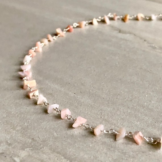 Raw Pink Opal Silver Rosary Chain Boho Choker Necklace