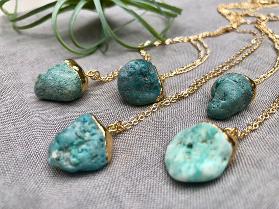 Raw Turquoise Necklace 14K Gold Necklace