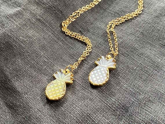 Pineapple Carved Shell Charm 14K Gold Boho Necklace