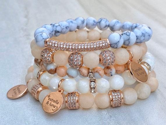 Rose Gold Bracelets/ Beaded Bracelets/ Matte Pink/ Marble Bracelets/ Pave Crystal/ Stacking Bracelets/ Matte Bead Bracelets/ Rose Gold