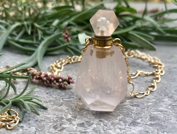 Rose Quartz Carved Stone Perfume Bottle Necklace