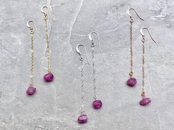 Raw Pink Sapphire Gemstone Crystal Drop Earrings