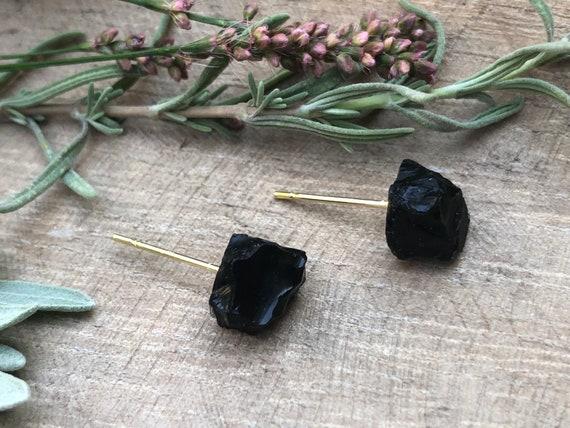 Raw Black Tourmaline Gemstone Earrings