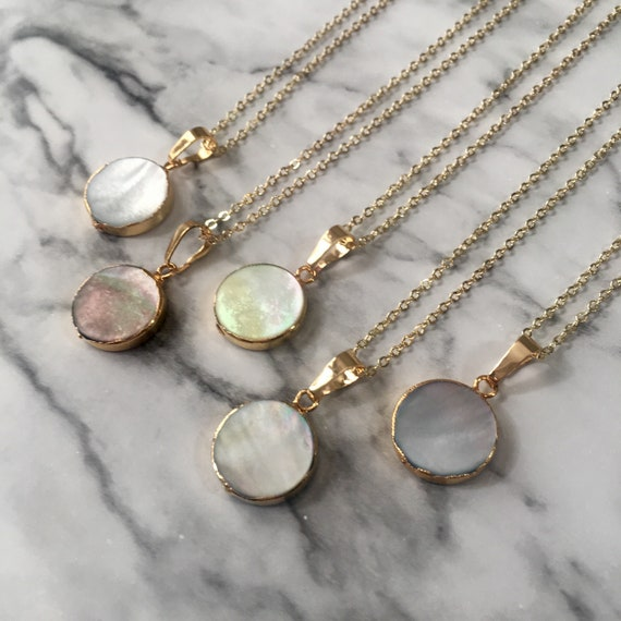 Dainty Boho 14K Gold Mother of Pearl Necklace