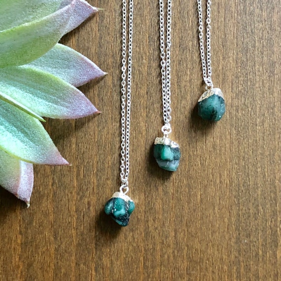 Dainty Simple Raw Emerald Gemstone Sterling Silver Necklace