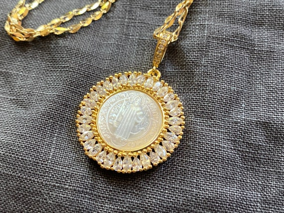 Saint Benedict 14K Gold Carved Shell Necklace