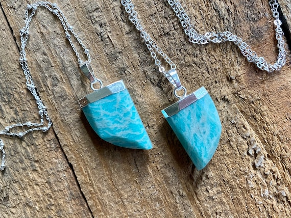 Sterling Silver Amazonite Horn Pendant Boho Necklace