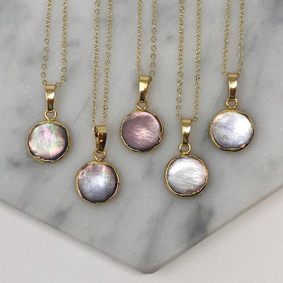 Minimalist Dainty Pearl Pendant 14K Gold Necklace