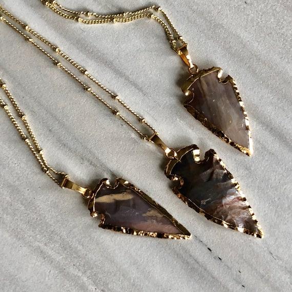 Boho Natural Stone Arrowhead 14K Gold  Necklace