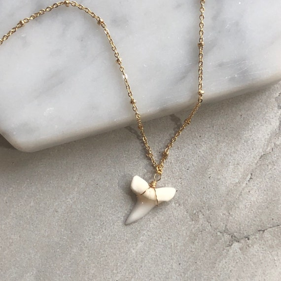 Dainty Natural Shark Tooth Pendant 14K Gold Boho Necklace