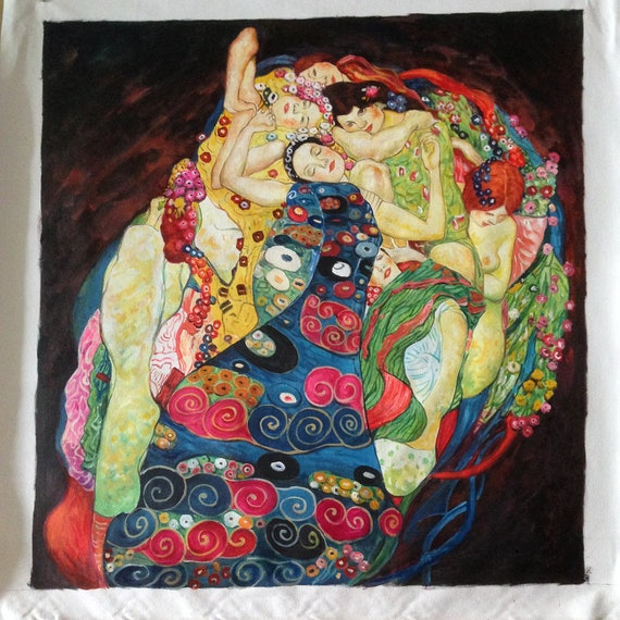 Gustav Klimt  The Maiden Painting Reprint On Framed Canvas Wall Art Home Decor