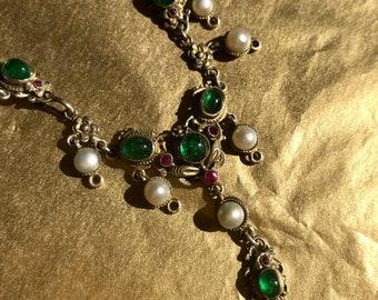 Rococo gilt emerald, ruby pearl necklace