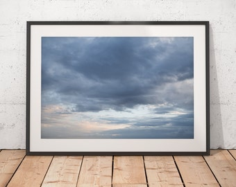 Blue Clouds Abstract Art, Moody Clouds at Sunset Photograph, Printable Wall Art, Digital Download