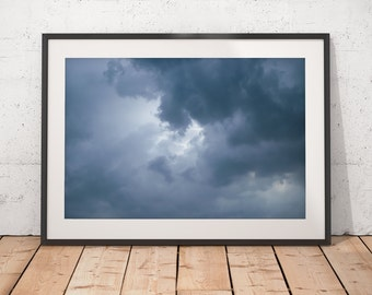 Dramatic Sky Abstract Art, Moody Clouds Photograph, Dark Skies, Blue Decor, Printable Art, Digital Download