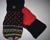 Handcrafted Red and Black Patterned Sweater Mittens