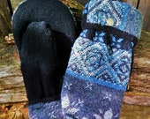 Handcrafted Blue and Black Sweater Mittens