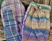 Handmade Pastel Mohair and Plaid Wool Mittens