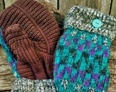 Handcrafted Turquoise Patterned Sweater Mittens