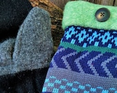 Handmade Green and Blue Patterned Sweater Mittens