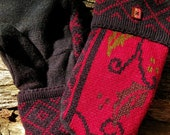 Handmade Red and Black Holly Sweater Mittens
