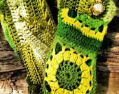 Unique Green and Gold Afghan Mittens