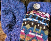 Handcrafted Blue Patterned Sweater Mittens