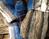 Brown and Blue Sweater and Blanket Mittens Handmade