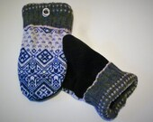 Handmade Blue Patterned Sweater Wool Mittens