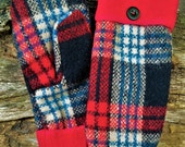 Handsewn Red Plaid Wool Mittens
