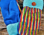 Handcrafted Multi-Colored Rainbow Wool Mittens