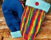 Handmade Bright Multi-Striped Wool Mittens