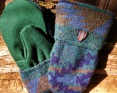 Handmade Green Patterned Wool Mittens