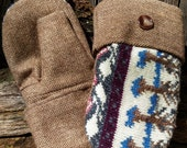 Handmade Patterned Sweater and Tweed Mittens