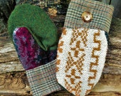 Handmade Tan Patterned Sweater & Plaid Wool Mittens