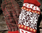 Handmade Wool Plaid and Patterned Sweater Mittens