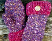 Handsewn Purple And Pink Sweater Mittens
