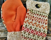 Handsewn Orange Patterned Wool Mittens