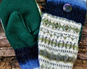 Handcrafted Green Striped Wool Mittens