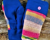 Handmade Multi-Colored Sweater and Wool Mittens
