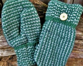 Handsewn Green Sweater Mittens