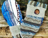 Handcrafted Brown and Blue Sweater Mittens