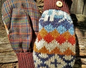 Handsewn Brown Patterned  Sweater and Plaid Wool Mittens