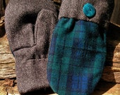 Handmade Plaid and Herringbone Wool Mittens