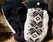 Handmade Black and White Wool Sweater Mittens
