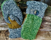 Handmade Green and Black & White Sweater Mittens