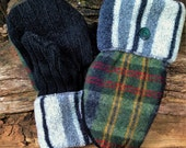 Handmade Green Plaid and Blue Striped Sweater Mittens