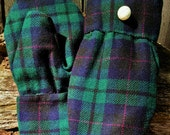 Handcrafted Green and Blue Plaid Wool Mittens